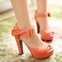 Sweet Candy Color Bow Knot Thick Heel Platform Sandals
