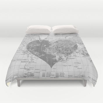 World Map With Heart Duvet Cover or Comforter - bed - bedroom, travel decor, cozy soft, gray, grey, winter, warm, wanderlust