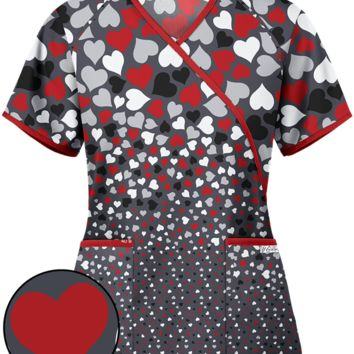 UA Raining Hearts Red Mock Wrap Print Scrub Top | Heart Scrub Tops