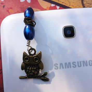 Dust plug, cell phone charm, mobile accessories, blue bronze & silver, owl charm