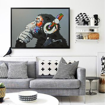 Modern Gorilla Canvas Painting On Prints Home Decoration  Animal Picture Wall Art Paintings