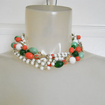 50s Vintage Multi Strand Necklace for Spring - 1950s Beaded Multistrand with 7 Strands