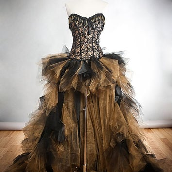 Custom Size Black and Gold lace chain and tulle Burlesque Corset Dress short in the front long train in the back