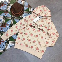 """Gucci"" Women Casual Letter Flower Print Loose Long Sleeve Pullover Hooded Sweater Sweatshirt Tops"