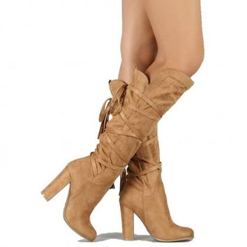 Emilia Camel Suede Knee High Boots Chunky Heels
