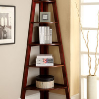 Lyss contemporary style cherry finish wood 5 tier corner bookcase shelf