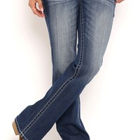 Ariya Curvy Fit Bootcut Jeans with Whiskers and Center Back Notch