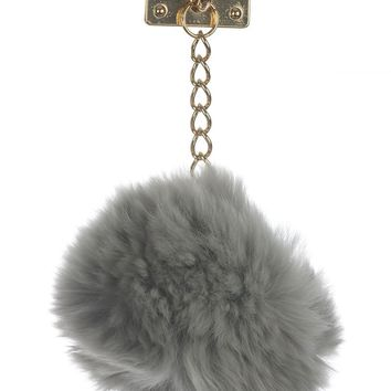 Gray Faux Fur Pom Pom Phone Accessory General Merchandise