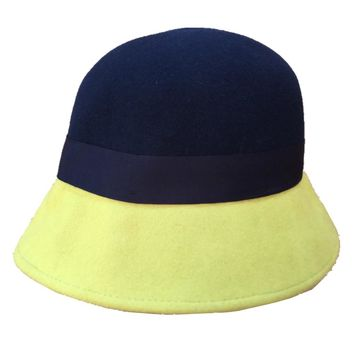 Wool felt Yellow Pink Patch cloche Bucket hat for women 24932b81695f