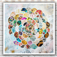 mixed media collage art print, spring decor, wallpaper art, flower painting, colorful wall art, fine art print, giclee print