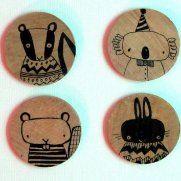 Set of Four Hand Drawn Ink Illustration Whimsical Animal Magnets, Office Accessory Original Art by Andrea Doss, Rabbit, Skunk, Koala, Beaver