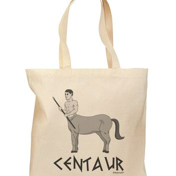 Greek Mythology Centaur Design - Grayscale - Text Grocery Tote Bag by TooLoud