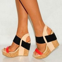 SHOFOO shoes.Elegant fashion free shipping, multi color combination leather, 13 cm wedges sandals, women's sandals. SIZE:34-45