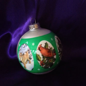 1979 Natures Christmas, Glass Ornament, National Wildlife Federation, Chickadee, Lynx, Geese, Frosted Silver Bulb, Decorated Vinyl