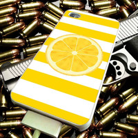 Yellow White Stripes with a LEMON for iPhone 4/4s/5/5s/5c/6/6 Plus Case, Samsung Galaxy S3/S4/S5/Note 3/4 Case, iPod 4/5 Case, HtC One M7 M8 and Nexus Case ***