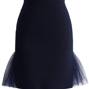 Layers of Grace Knitted Bud Skirt in Navy