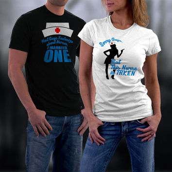 Married To A Nurse Matching Shirt, Couples Shirts, Couples Tshirts, His and Her Shirts, Wedding Anniversary Gift