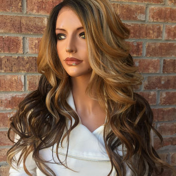 """Chestnut Honey Blonde Balayage Human Hair Blend Multi Parting  Lace Front Wig  22"""""""