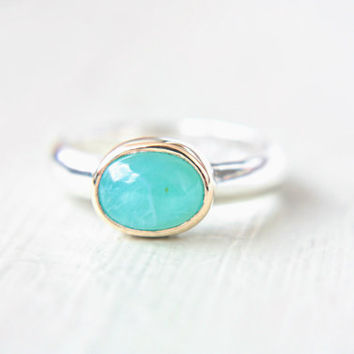 Paraiba Opal Ring 14k Yellow Gold Sterling Silver Paraiba Opal Engagement Ring Size 6,5-8 Aqua Gem Ring Silversmith Goldsmith