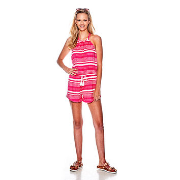 Juniors Poof! Stripe Hi Neck Romper