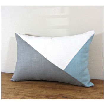 Side Envelope Modern Colorblock Pillow Cover - Grey/ Ivory/ Ice Blue   Combo