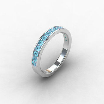 Aquamarine ring, Palladium ring, aquamarine wedding band, eternity ring, Palladium wedding, micro pave, Blue wedding, aquamarine
