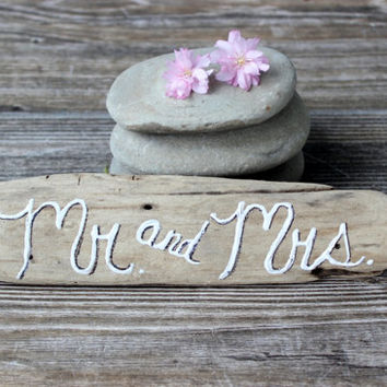 Rustic Wedding / Beach Wedding Driftwood Sign , Coastal Reception Decoration
