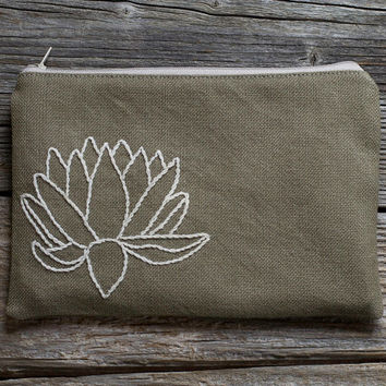 Hand embroidered Lotus Flower Zipper Pouch in Khaki and Natural White, Yoga Accessories, Nature Inspired Pure Cotton Cosmetic Bag