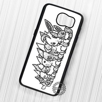 Minimalist Eeveelutions Sketch Drawing Pokemon - Samsung Galaxy S7 S6 S5 Note 7 Cases & Covers