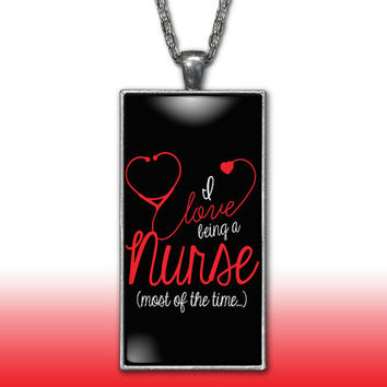 Nurse Pendant Charm Necklace I Love Being a Nurse Cute Funny LPN Rn Heart Stethoscope Gift Custom Charm Necklace, Silver Plated Jewelry