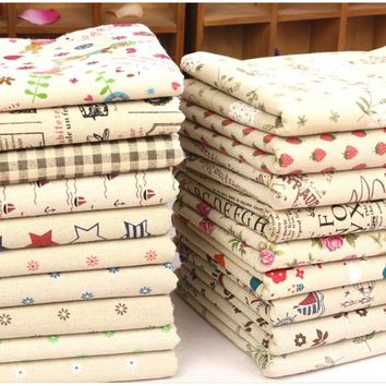 Cotton Linen Fabric Cloth DIY Cloth Art Manual Cloth Pastoral Floral Fabric for Throw pillow Bag Tablecloth Cushion Curtain