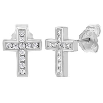 925 Sterling Silver Small Clear CZ Cross Stud Earrings for Girls or Teens