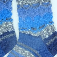 Gorgeous hand knitted blue socks new mom or dad gift US 9  - 11 Christmas gifts for friends