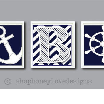 SALE-Nautical 3 Print Set Chevron Navy Blue - Personalized Monogram - Boys Decor - Nursery or Toddler Room Print - 8 x 10