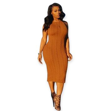 Knitted  Retro Bodycon Sweater Dress