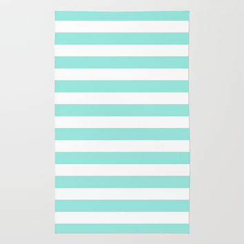 Stripe Tiffany Blue Horizontal Rug by Beautiful Homes