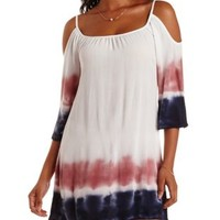 Natural Combo Tie-Dye Cold Shoulder Shift Dress by Charlotte Russe