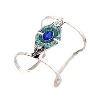 2017 Ethnic Style Indian Jewelry Antique Silver color Big Open Cuff bracelets Colorful Rhinestone Geometric Bracelets For Women