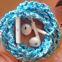 MyBudsBuzz Handmade Wrapped Tangle Free & Tangle Resistant Earbuds | Aqua Surprise | Genuine EarPods for iPhone iPod iPad