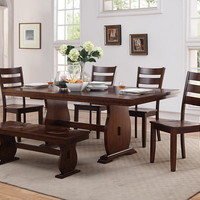 7 pc Narlinda collection antique walnut finish wood dining table set with bench
