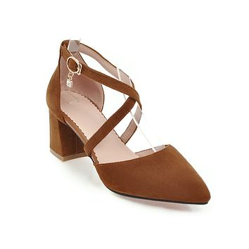 Pointed Toe Mid Heel Sandals Summer Shoes 6398