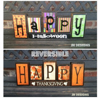 REVERSIBLE Happy Halloween and Thanksgiving blocks