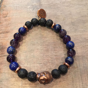 Bracelet, Amethyst, Lapis Lazuli, Lava Rock (8 mm beads) and 1 ml of Essential Oil for Diffusing/Aromatherapy