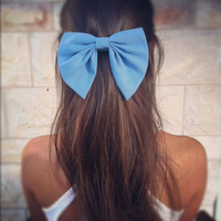 Blue BIG unique hair bow