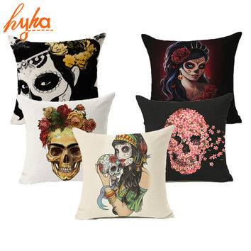 Hyha Sugar Skull Cushion Cover Punk Skull Flower Skull Home Decorative Pillow Nordic Cushion Cover for Sofa Throw Pillow CASE