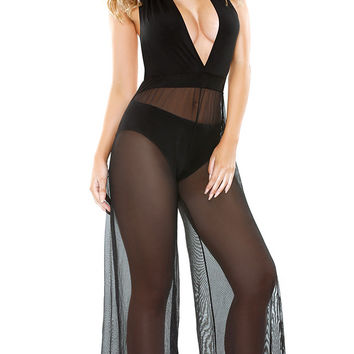 Black Plunging Sheer Mesh Layered Lingerie