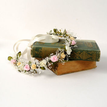 Wedding Flower Headband, Bridal Floral Halo, Dried Flower Circlet, Woodland Hair Wreath, Rustic Crown, Australian Flower Headpiece