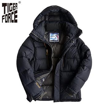 TIGER FORCE Men Padded Jacket Fashion Winter Cotton Polyester Coat Thick Casual Parka With Hood European Size Free Shipping