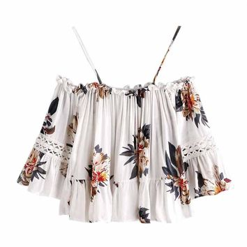 Tank Top Women 2017 Women Floral Lace Casual Off Shoulder Crop Top Shirt Blouse Cam Camisole Feminina V-Neck Cute Ruffle Jane 30