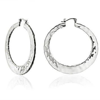 Boho Style Hammered Flat Large Hoop Earrings